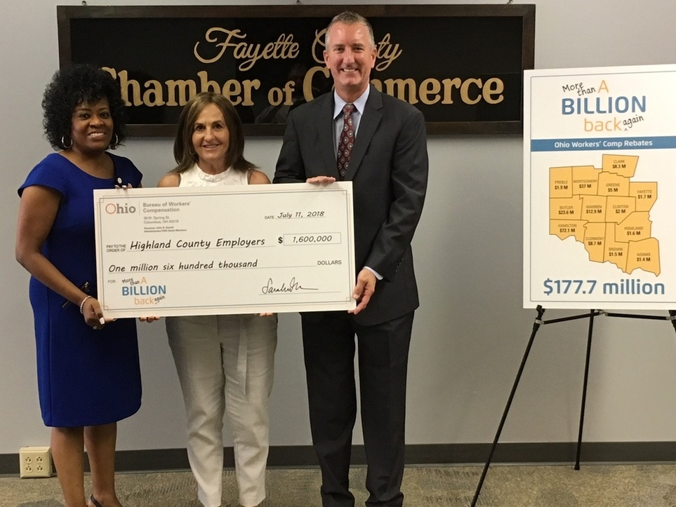 Highland County Chamber of Commerce accepts Ohio BWC rebate check for local employers