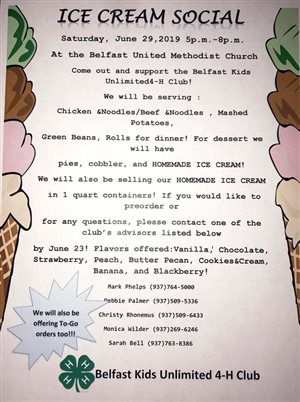 Belfast Kids Unlimited 4-H Club annual ice cream social, dinner June 29 at Belfast United Methodist Church