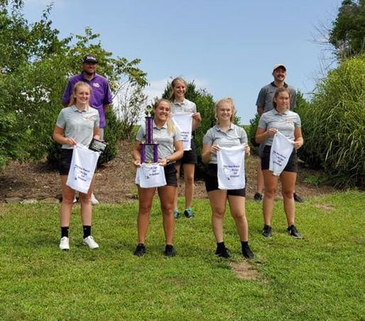 Pictured are McClain Lady Tigers golfers and coaches after winning the 2020 Adam Sharp Invitational.